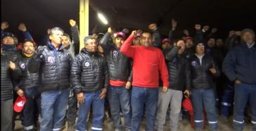 Eine Gruppe der streikende Esconcida-Arbeiter