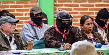 Kommandant Moisés, Sprecher der EZLN, bei seine Abschlussrede