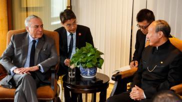 Bei seinem Besuch in China traf Temer mehrere Unternehmer, hier den Chef der HNA-Gruppe, Chen Feng