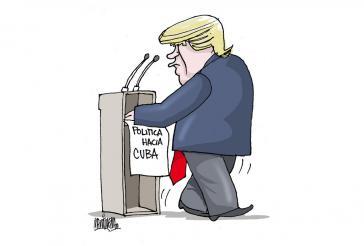 """""""Schritte rückwärts"""": Karikatur des bekannten kubanischen Zeichners Alfredo Martirena zur Kuba-Politik von US-Präsident Trump"""