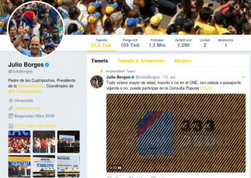 """Julio Borges am 13. Juli: """"Alle volljährigen Venezolaner, ob beim CNE registriert oder nicht, ob mit gültigem Ausweis oder ohne, können an der Volksbefragung teilnehmen"""""""