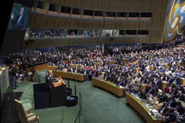 US-Präsident Trump am Dienstag vor der UN-Generalversammlung. Zuvor hatte er sich mit Venezuela-Kritikern aus Lateinamerika getroffen