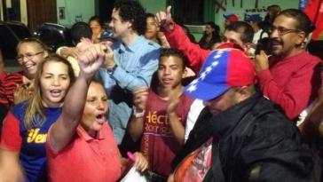 Siegesfeier von Unterstützern der Regierungspartei Maduros PSUV nach der Wahl in Venezuela