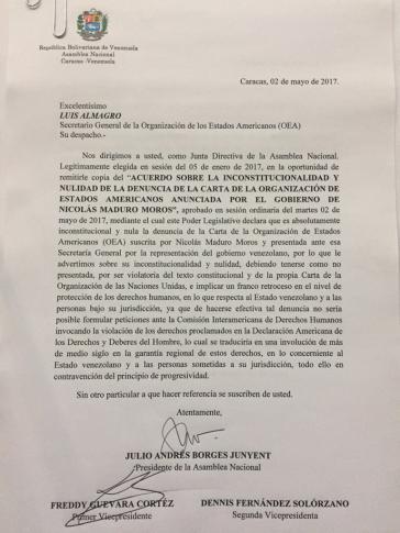 Dieser Brief der Opposition aus Venezuela an die OAS stellt deren Argumente gegen den Austritt dar