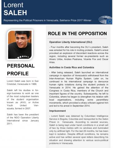 """Biografie von Saleh mit Paramilitär-Kontakten: Im Parlament versendet, von Arbeitsplatz einer Parlamentsmitarbeiterin erstellt, aber """"nicht im Namen des Europaparlaments"""""""