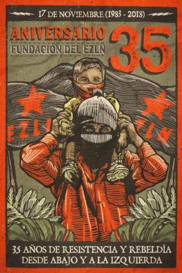 Plakat zum 35. Jahrestag der Gründung der EZLN