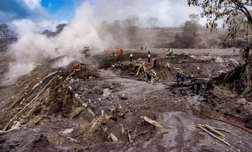 Der Vulkanstaub bedeckt Vegetation und Opfer. Noch immer werden knapp 200 Menschen vermisst
