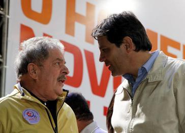 Vor Lulas Festnahme in Brasilien im April. Nun gehen Lula und der Ex-Bürgermeister von São Paulo, Haddad, in den Wahlkampf
