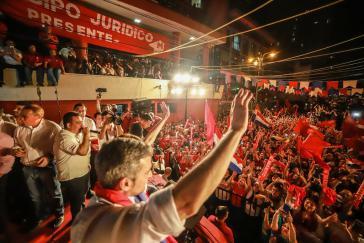 Mario Abdo Benítez, Marito genannt, feiert seinen Sieg bei den Präsidentschaftswahlen in Paraguay am 22. April