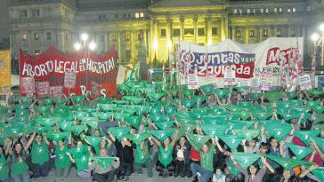 Demonstration für die Legalisierung von Schwangerschaftsabbrüchen in Argentinien am 29. Mai