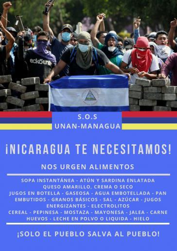 """Aufruf von Studenten der Nationalen Autonomen Universität von Nicaragua zur Unterstützung der """"Barrikadenkämpfer"""""""