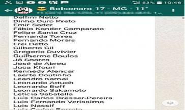 """Screenshot der """"Feindesliste"""" aus der brasilianischen Tageszeitung Folha de S. Paulo"""