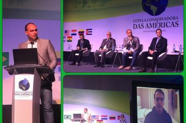 Eduardo Bolsonaro, Sohn des designierten Präsidenten von Brasilien, Jair Bolsonaro, beim Gipfel der Ultrarechten am Samstag