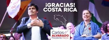 Der neue Präsident von Costa Rica, Carlos Alvarado Quesada, bedankt sich bei seinen Wählern