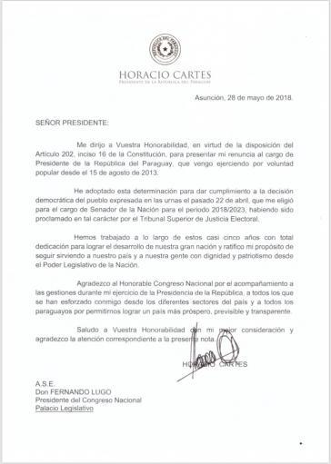 Mit diesem Schreiben hat der noch amtierende Präsident von Paraguay, Horacio Cartes, seinen Rücktritt eingereicht