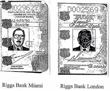 Zwei von mehreren falschen Pässen, die Chiles Ex-Diktator Pinochet zur Eröffnung von Bankkonten bei der Riggs Bank einsetzte (Bildausschnitt)