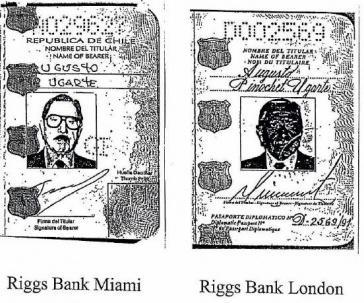 Zwei von mehreren falschen Pässen, die Chiles Ex-Diktator Pinochet (1973-1990) zur Eröffnung von Bankkonten bei der Riggs Bank einsetzte