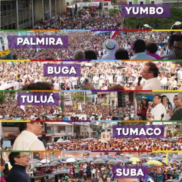 Von Petro in der letzten Woche besuchte Städte im Zuge seines Wahlkampfs in Kolumbien