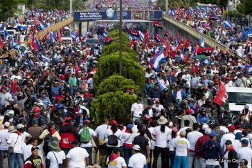 Demonstration für Frieden und gegen US-Sanktionen am Samstag in Managua, Nicaragua
