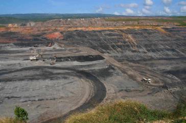 Teil des Geländes von El Cerrejon, einer der größten Steinkohle-Tagebaue der Welt in Guajira, Kolumbien