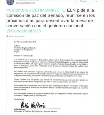 Pablo Beltrán ersucht für die ELN die Friedenskommission des Senats von Kolumbien, die Regierung des Landes zur Fortsetzung der Friedensgespräche zu drängen