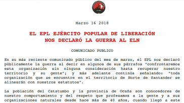 Dieses Kommuniqué veröffentlichte die ELN auf ihrer Homepage