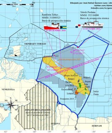 Mit den Angaben der Längen- und Breitengrade der Position der Exxon-Schiffe und der Projektion des Orinoco-Deltas wehrt sich Venezuela gegen den Vorwurf der Aggression