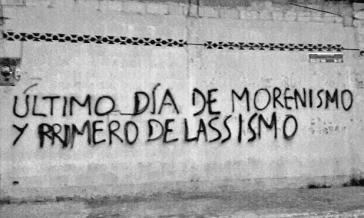 """Grafito in Guayaquil, Ecuador, nach dem Referendum: """"Letzter Tag des Morenismus, erster des Lassismus"""" - in Anspielung auf Präsident Moreno und den Bankier und Oppositionsführer Lasso"""