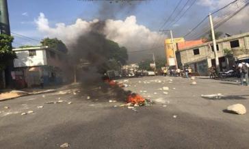 Szene aus Port-au-Prince, Haiti, während der jüngsten Proteste