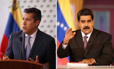 """Henri Falcón (links) will als als erste Amtshandlung """"politische Gefangene"""" in Venezuela freilassen, Nicolás Maduro ruft zur Einheit und zum Frieden auf (Kollage Amerika21)"""