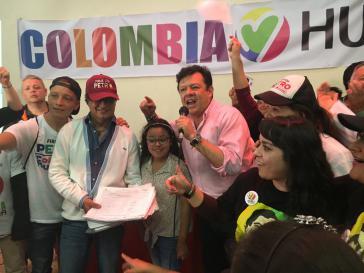 Hollman Morris und Gustavo Petro in Bogotá