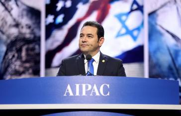 Der Präsident von Guatemala, Jimmy Morales, am Wochenende bei einem Treffen der US-israelischen Lobbyorganisation AIPAC