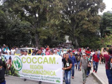 Kokabauern in Kolumbien protestieren für ihre Rechte und die Umsetzung des Friedensabkommens