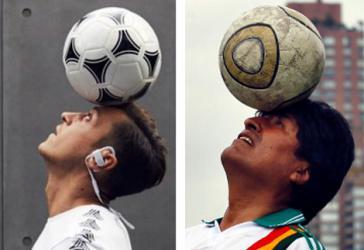 Für ein Fußball ohne Rassismus: Boliviens Präsident Evo Morales und Mezut Özil (Kollage)