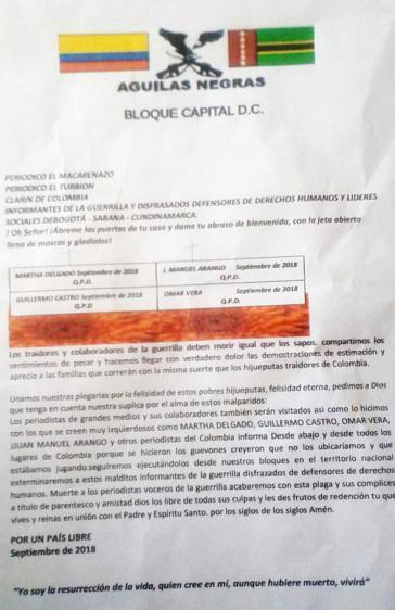 """In diesem Pamphlet bedrohen die """"Aguilas Negras"""" die Medienschaffenden mit dem Tode"""