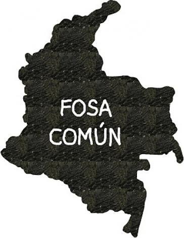 """""""Massengrab"""" steht auf dem Umriss Kolumbiens. Fast 83.000 Menschen sind seit 1958 verschwunden"""