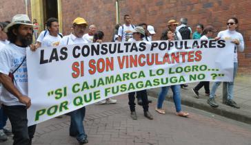 """Gemeindemitglieder kämpfen für die Anerkennung ihrer Abstimmung: """"Volksbefragungen sind bindend: Wenn Cajamarca es erreicht hat, warum Fusagasugá nicht?"""""""