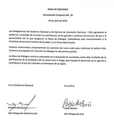 Die Verhandlungsführer der Regierung Kolumbiens und der Guerillaorganisation ELN bestätigen die Fortsetzung der Gespräche an einem neuen Ort