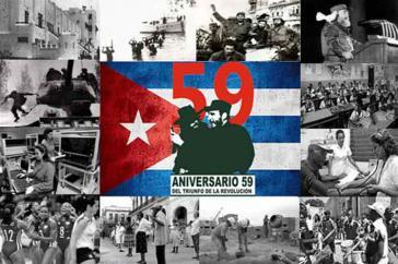 Collage der Nachrichtenagentur Prensa Latina zum 59. Jahrestag der Revolution