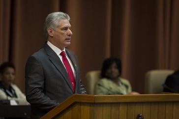 Miguel Díaz-Canel, der neue Präsident des Staats- und Ministerrats von Kuba, bei seiner Antrittsrede am Donnerstag, 19. April 2018