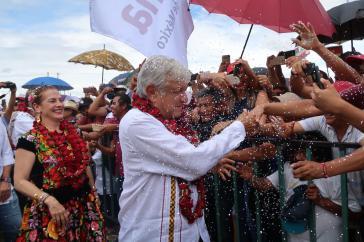 Nach allen Voraussagen wird er der nächste Präsident von Mexiko: Andrés Manuel López Obrador, hier bei einer Wahlkampfveranstaltung am 16. Juni in Oaxaca