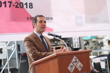 Sieht kein Problem für den Wahlablauf in Mexiko durch die Morde an Kandidaten: Der Direktor der Wahlbehörde, Lorenzo Córdova, bei einer Pressekonferenz am 6. Mai