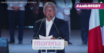 Könnte der neue Präsident von Mexiko werden: Andrés Manuel López Obrador, bei seiner Ansprache im Aztekenstadion zum Abschluss der Wahlkampagne
