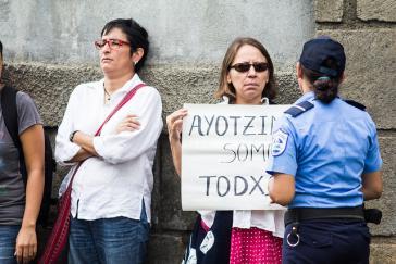 Protest im Fall Ayotzinapa, Mexiko, vor der mexikanischen Botschaft in Nicaragua