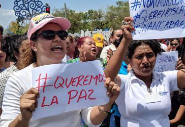 Demonstration für den Frieden in Managua, Nicaragua, nach den gewaltsamen Zusammenstößen