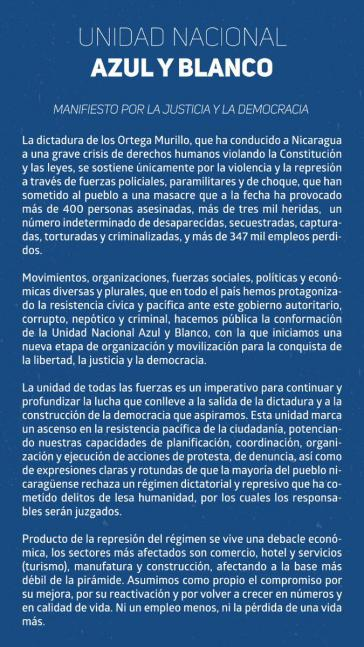 """Manifest zur """"Nationalen blau-weißen Einheit"""" der Opposition in Nicaragua"""