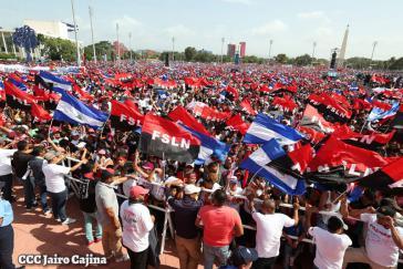 Hauptkundgebung zum Jahrestag der Revolution in Managua, Nicaragua