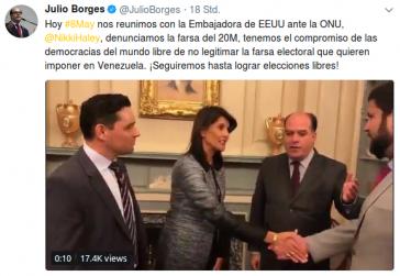 Julio Borges, Carlos Vecchio und weitere Oppositionsvertreter aus Venezuela trafen am Dienstag mit Nikky Haley in Washington zusammen