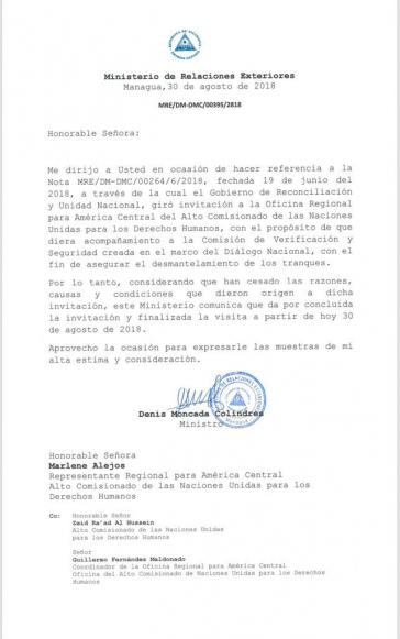 Dieses Schreiben ist Grundlage für die Beendigung der UNHCR-Mission in Nicaragua