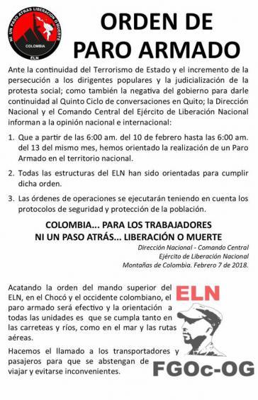 Dieses Schreiben der ELN zirkuliert in Kolumbien